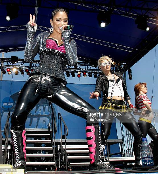 Nicole Scherzinger Ashley Roberts and Jessica Sutta of The Pussycat Dolls perform at day 2 of The Big Dance free concert on April 4 2009 in Detroit...