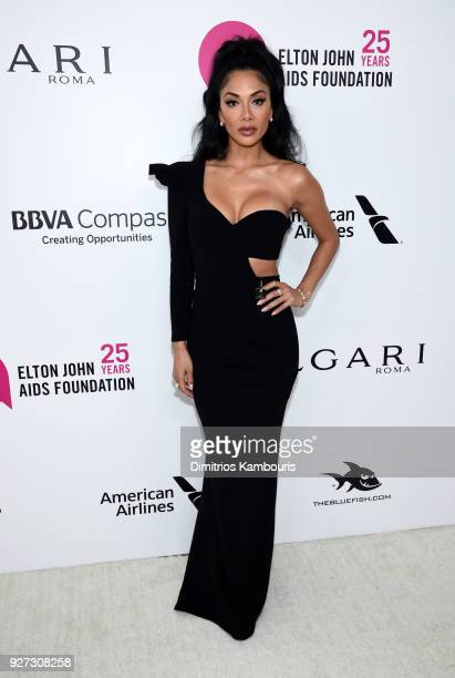 Nicole Scherzinger attends the 26th annual Elton John AIDS Foundation Academy Awards Viewing Party sponsored by Bulgari, celebrating EJAF and the...