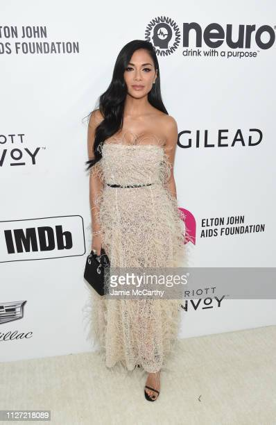 Nicole Scherzinger attends the 27th annual Elton John AIDS Foundation Academy Awards Viewing Party sponsored by IMDb and Neuro Drinks celebrating...