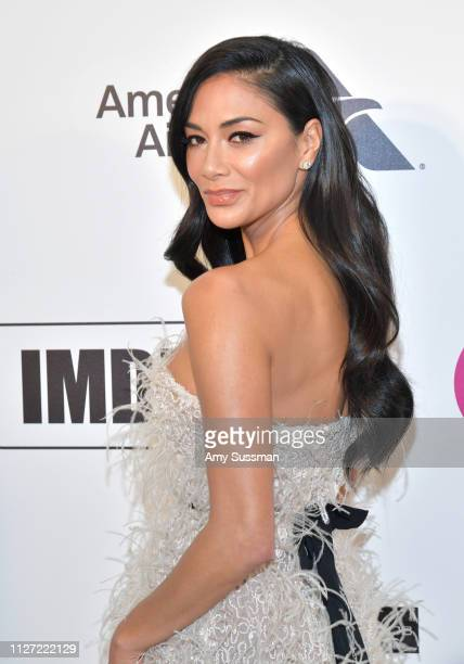 Nicole Scherzinger attends the 27th annual Elton John AIDS Foundation Academy Awards Viewing Party celebrating EJAF and the 91st Academy Awards on...