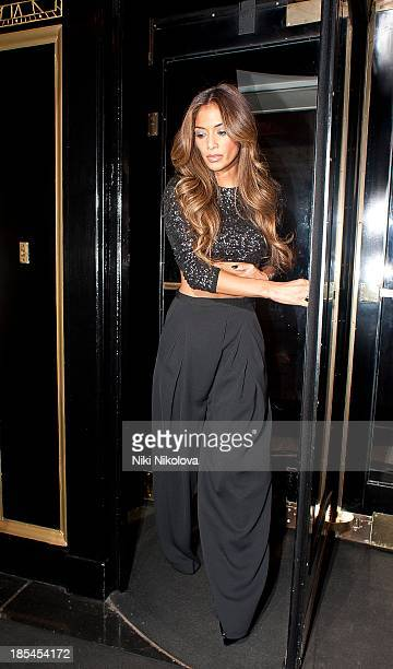 Nicole Scherzinger is sighted leaving theDorchester Hotel Mayfair on October 20 2013 in London England