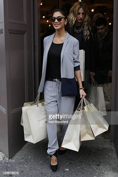 Nicole Scherzinger is spotted leaving the All Saints store in Westbourne Park on October 11 2012 in London England