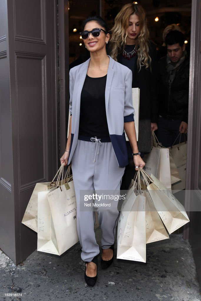 Nicole Scherzinger is spotted leaving the All Saints store in Westbourne Park on October 11, 2012 in London, England.