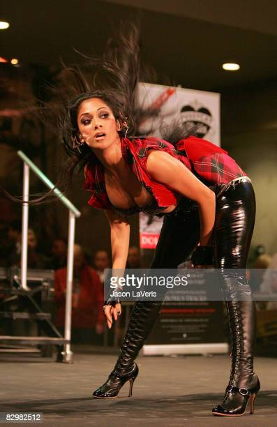 Nicole Scherzinger of The Pussycat Dolls performs at Hollywood Highland on September 23 2008 in Hollywood California