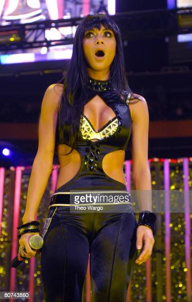 Nicole Scherzinger of The Pussycat Dolls performs Don't Cha Beep I Don't Need A Man Stickwitu Wait A Minute and Buttons