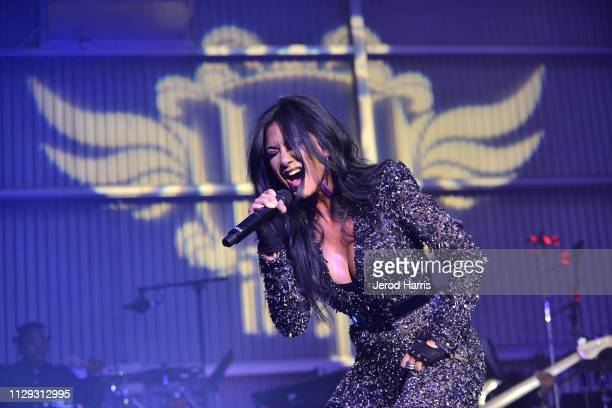 Nicole Scherzinger performs onstage at william Hosts 8th Annual iam angel Foundation TRANS4M Gala Honoring Quincy Jones on February 12 2019 in Los...