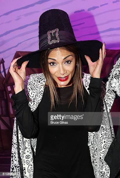 Nicole Scherzinger poses backstage at the hit musical Something Rotten on Broadway at The St James Theatre on February 16 2016 in New York City
