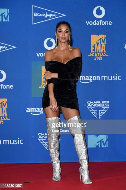 Nicole Scherzinger poses in the winners room during the MTV EMAs 2019 at FIBES Conference and Exhibition Centre on November 03, 2019 in Seville,...