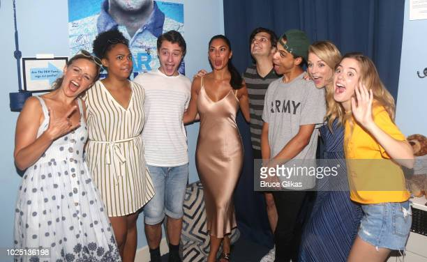 Nicole Scherzinger poses with the cast backstage at the hit musical ÒDear Evan HansenÓ on Broadway at The Music Box Theatre on August 29 2018 in New...