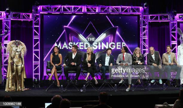 Nicole Scherzinger Robin Thicke Jenny McCarthy Ken Jeong Nick Cannon and producers of the television show The Masked Singer speak during the Summer...