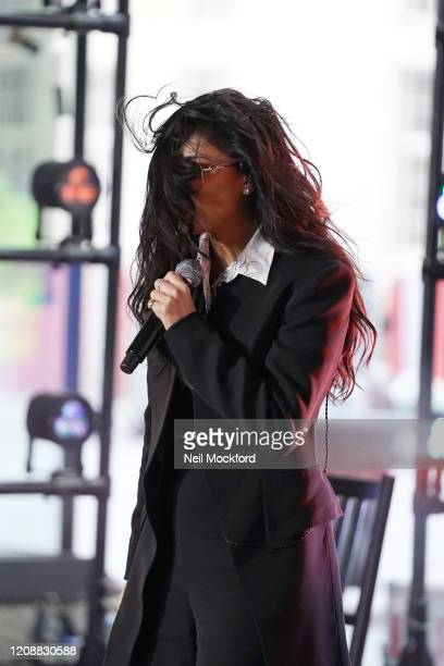 Nicole Scherzinger seen at BBC Studios rehearsing for The One Show on February 26 2020 in London England