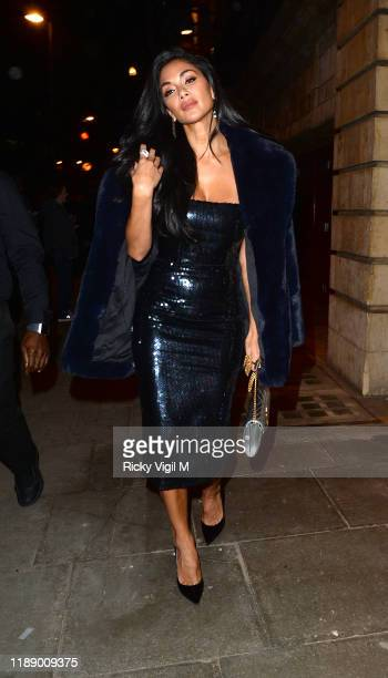 "Nicole Scherzinger seen attending ""& Juliet"" press night at Shaftesbury Theatre on November 20, 2019 in London, England."