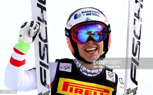 Nicole Schmidhofer of Austria celebrates during the Women's Super G during the FIS Alpine World Ski Championships on February 7 2017 in St Moritz...