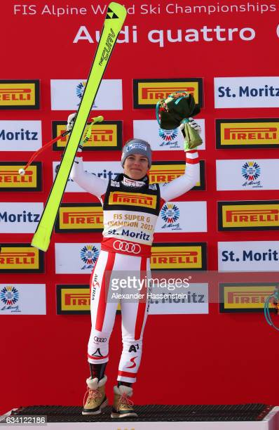 Nicole Schmidhofer of Austria celebrates winning the gold medal during the flower ceremony for the Women's Super G during the FIS Alpine World Ski...