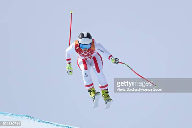 Nicole Schmidhofer of Austria competes during the Alpine Skiing Women's Downhill at Jeongseon Alpine Centre on February 21 2018 in Pyeongchanggun...