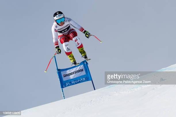 Nicole Schmidhofer of Austria competes during the Audi FIS Alpine Ski World Cup Women's Super G on December 8 2018 in St Moritz Switzerland