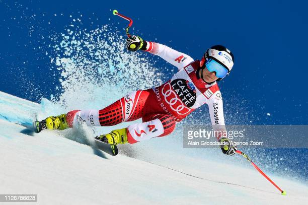 Nicole Schmidhofer of Austria competes during the Audi FIS Alpine Ski World Cup Women's Downhill on February 23 2019 in Crans Montana Switzerland