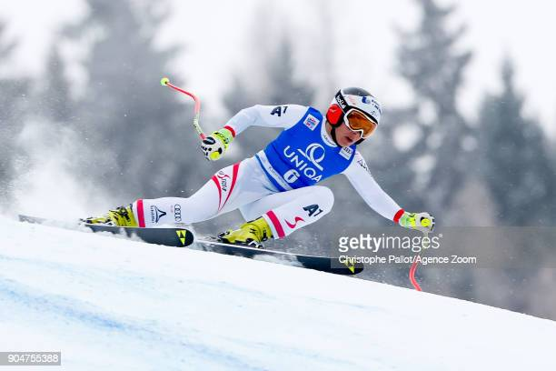 Nicole Schmidhofer of Austria competes during the Audi FIS Alpine Ski World Cup Women's Downhill on January 14 2018 in Bad Kleinkirchheim Austria