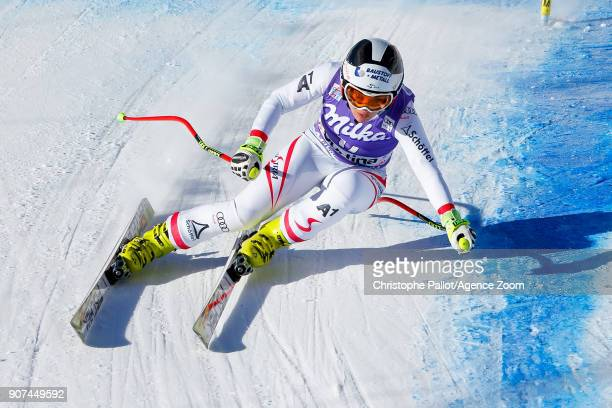 Nicole Schmidhofer of Austria competes during the Audi FIS Alpine Ski World Cup Women's Downhill on January 20 2018 in Cortina d'Ampezzo Italy