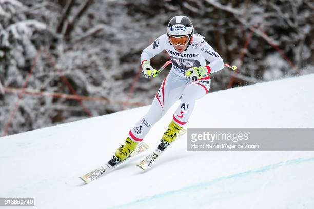 Nicole Schmidhofer of Austria competes during the Audi FIS Alpine Ski World Cup Women's Downhill on February 3 2018 in GarmischPartenkirchen Germany