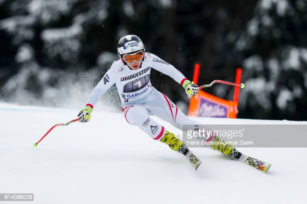 Nicole Schmidhofer of Austria competes during the Audi FIS Alpine Ski World Cup Women's Downhill on February 4 2018 in GarmischPartenkirchen Germany
