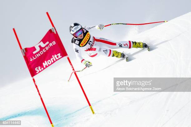 Nicole Schmidhofer of Austria competes during the FIS Alpine Ski World Championships Women's SuperG on February 07 2017 in St Moritz Switzerland