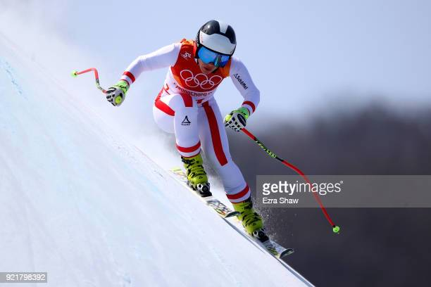 Nicole Schmidhofer of Austria competes during the Ladies' Downhill on day 12 of the PyeongChang 2018 Winter Olympic Games at Jeongseon Alpine Centre...