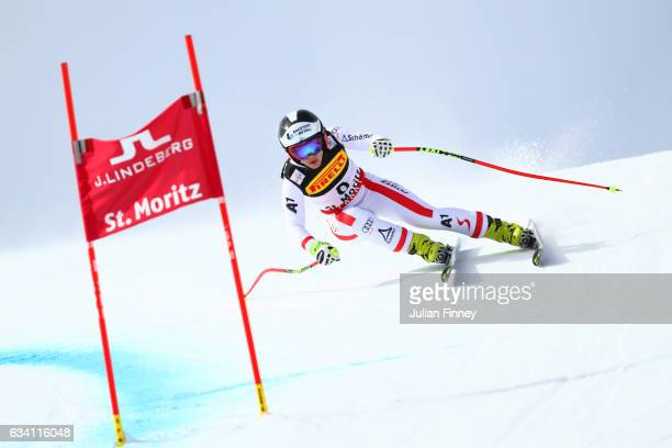 Nicole Schmidhofer of Austria competes during the Women's Super G during the FIS Alpine World Ski Championships on February 7 2017 in St Moritz...