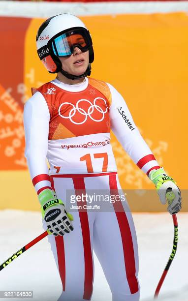 Nicole Schmidhofer of Austria competes in the Ladies Downhill at Jeongseon Alpine Centre on February 21 2018 in Pyeongchanggun South Korea
