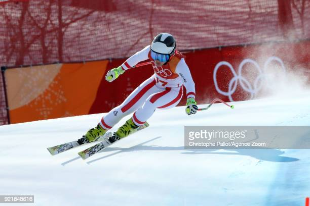 Nicole Schmidhofer of Austria in action during the Alpine Skiing Women's Downhill at Jeongseon Alpine Centre on February 21 2018 in Pyeongchanggun...