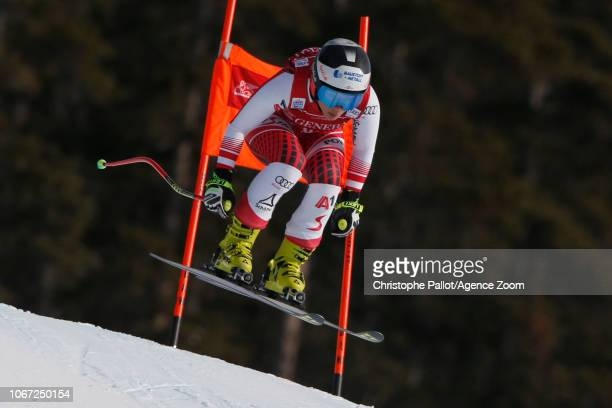 Nicole Schmidhofer of Austria in action during the Audi FIS Alpine Ski World Cup Women's Downhill on December 1 2018 in Lake Louise Canada