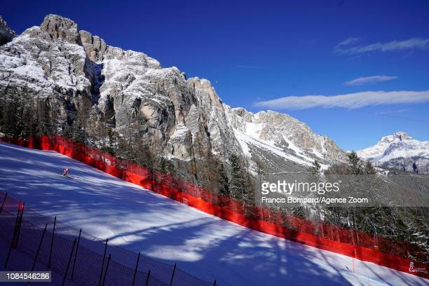 Nicole Schmidhofer of Austria in action during the Audi FIS Alpine Ski World Cup Women's Downhill on January 18, 2019 in Cortina d'Ampezzo Italy.