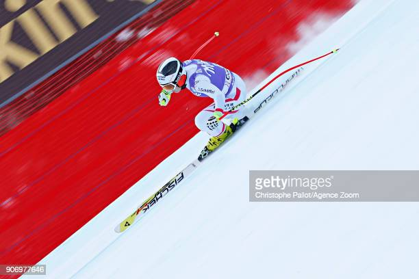 Nicole Schmidhofer of Austria in action during the Audi FIS Alpine Ski World Cup Women's Downhill on January 19 2018 in Cortina d'Ampezzo Italy