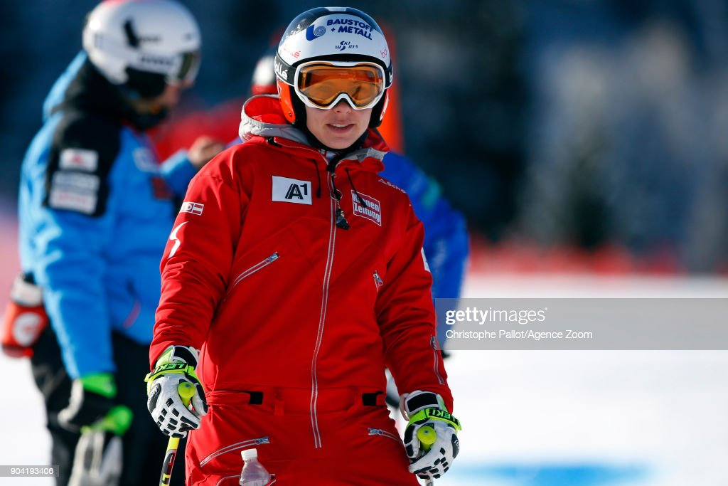 Nicole Schmidhofer of Austria inspects the course during the Audi FIS Alpine Ski World Cup Women's Downhill Training on January 12, 2018 in Bad Kleinkirchheim, Austria.