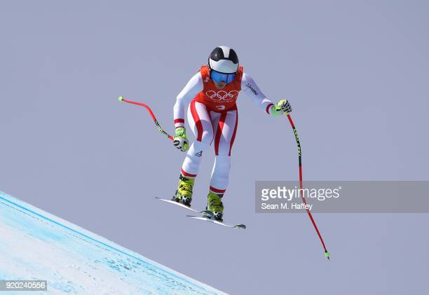 Nicole Schmidhofer of Austria makes a run during Alpine Skiing Ladies' Downhill Training on day 10 of the PyeongChang 2018 Winter Olympic Games at...