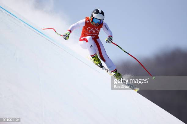 Nicole Schmidhofer of Austria makes a run during the Ladies' Downhill Alpine Skiing training on day eleven of the PyeongChang 2018 Winter Olympic...