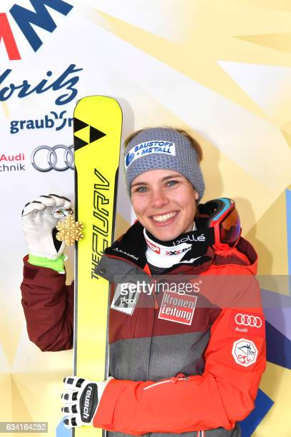 Nicole Schmidhofer of Austria poses with the gold medal during the medal ceremony for the Women's Super G during the FIS Alpine World Ski...