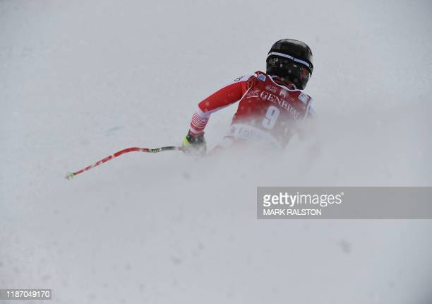 TOPSHOT Nicole Schmidhofer of Austria races before winning the 2nd Women's Downhill final at the Lake Louise ski resort in Alberta Canada on December...