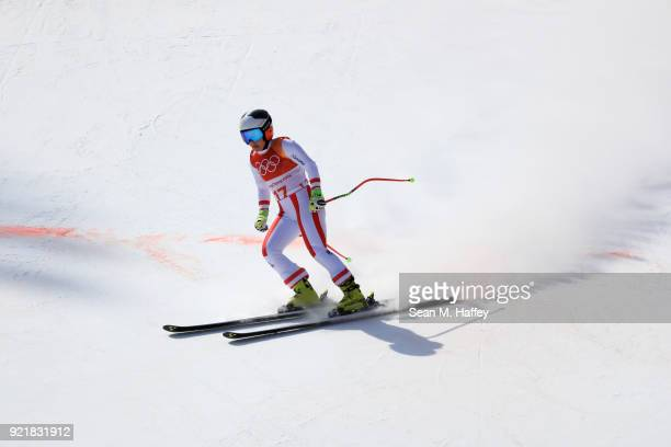 Nicole Schmidhofer of Austria reacts at the finish during the Ladies' Downhill on day 12 of the PyeongChang 2018 Winter Olympic Games at Jeongseon...
