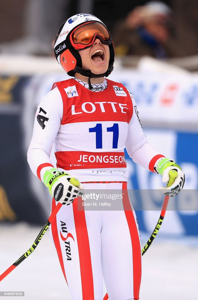 Nicole Schmidhofer of Austria reacts at the finish line of the Audi FIS Ski World Cup 2017 Ladies' Super-G on March 5, 2017 in Jeongseon-gun, South Korea.