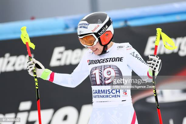 Nicole Schmidhofer of Austria reacts during the Audi FIS Alpine Ski World Cup Women's Downhill on February 3 2018 in GarmischPartenkirchen Germany