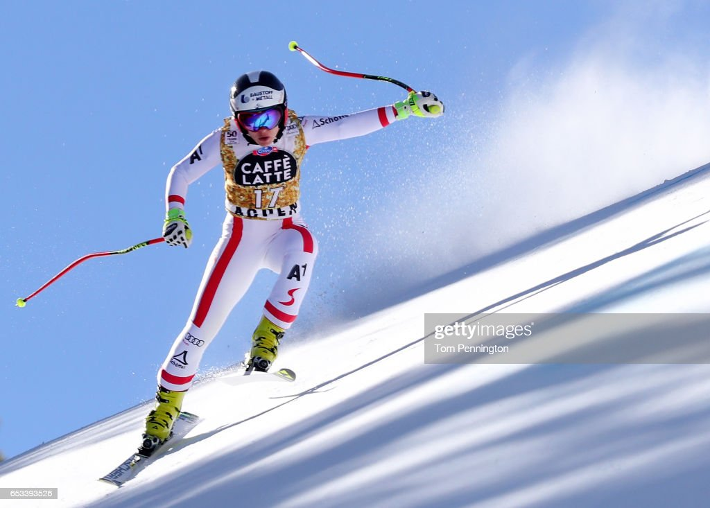 Nicole Schmidhofer of Austria skis during a training run for the ladies' downhill at the Audi FIS Ski World Cup Finals at Aspen Mountain on March 14, 2017 in Aspen, Colorado.