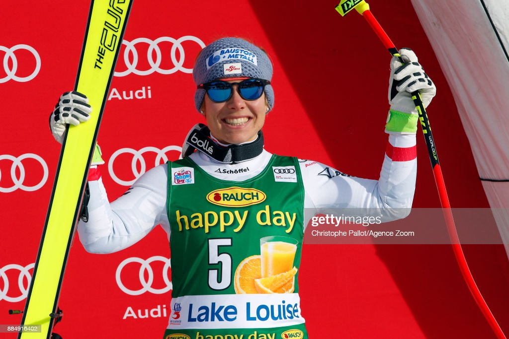Nicole Schmidhofer of Austria takes 3rd place during the Audi FIS Alpine Ski World Cup Women's Super G on December 3, 2017 in Lake Louise, Canada.