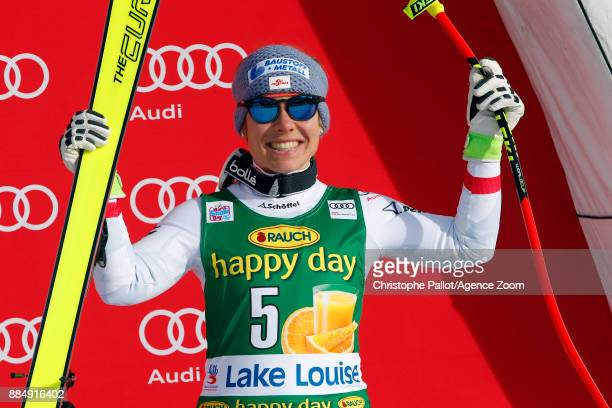 Nicole Schmidhofer of Austria takes 3rd place during the Audi FIS Alpine Ski World Cup Women's Super G on December 3 2017 in Lake Louise Canada