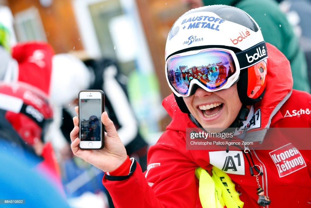 Nicole Schmidhofer of Austria Waiting for the chairlift during the Audi FIS Alpine Ski World Cup Women's Downhill on December 2, 2017 in Lake Louise, Canada.