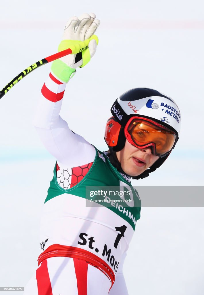 Nicole Schmidhofer of Austria waves at the finish in the Women's Downhill during the FIS Alpine World Ski Championships on February 12, 2017 in St Moritz, Switzerland.