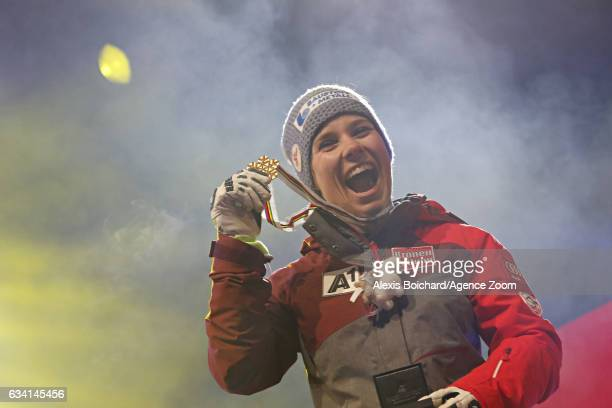 Nicole Schmidhofer of Austria wins the gold medal during the FIS Alpine Ski World Championships Women's SuperG on February 07 2017 in St Moritz...