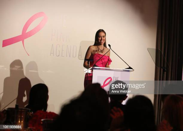 Nicole Seagriff speaks onstage at The Pink Agenda's Annual Gala at Tribeca Rooftop on October 11 2018 in New York City