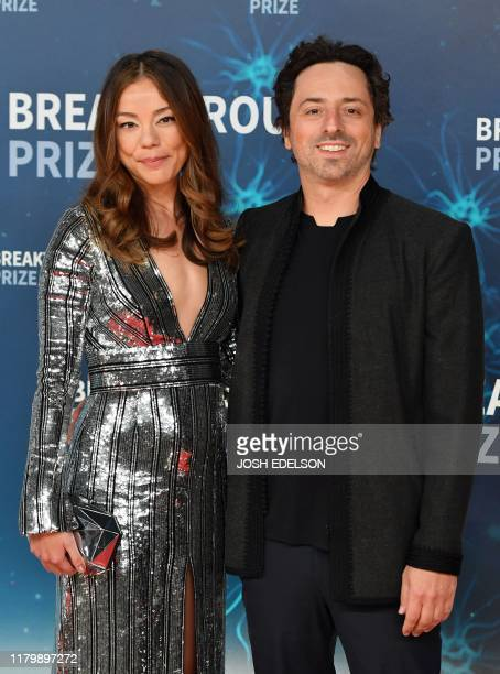 Nicole Shanahan and Sergey Brin arrive for the 8th annual Breakthrough Prize awards ceremony at NASA Ames Research Center in Mountain View California...