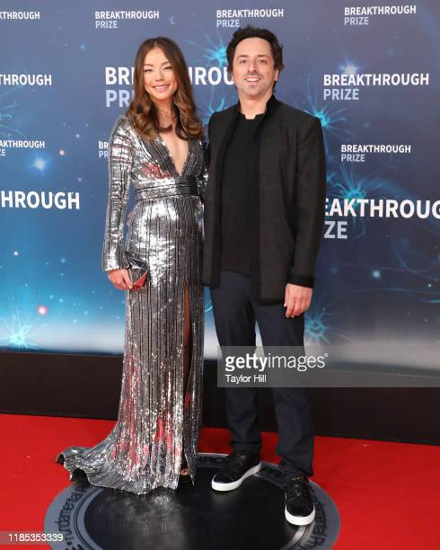 Nicole Shanahan and Sergey Brin attend the 2020 Breakthrough Prize Ceremony at NASA Ames Research Center on November 03, 2019 in Mountain View,...